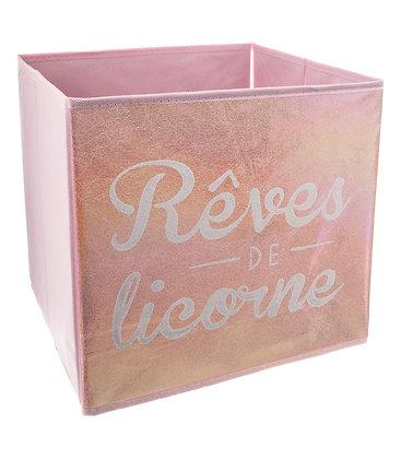 """Úložný box růžový """"Rêves de licorne"""""""