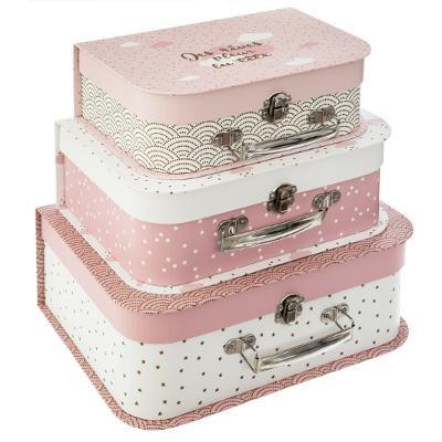 Sada růžových kartonových kufříků
