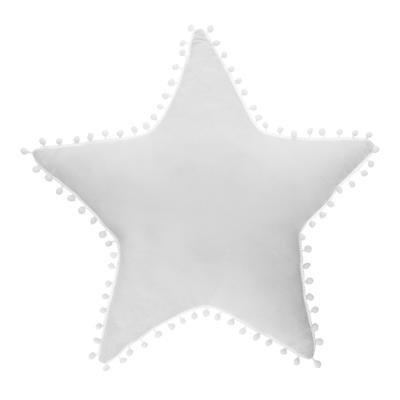 Polštář hvězda s bambulemi, bílý