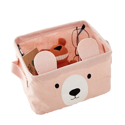 Látkový košík medvěd, růžový