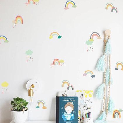 Samolepky na zeď s duhovým motivem, vícebarevné