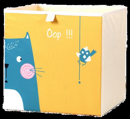 Úložný box kočka a pták, žlutý