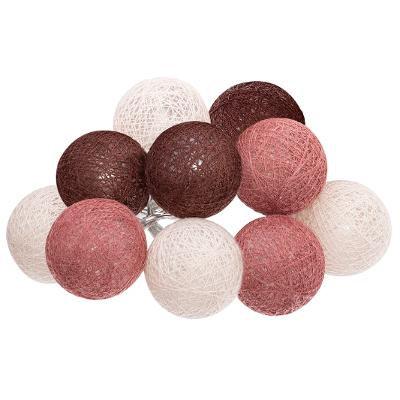 Girlanda s 10 LED koulemi, hnědá/bílá/růžová