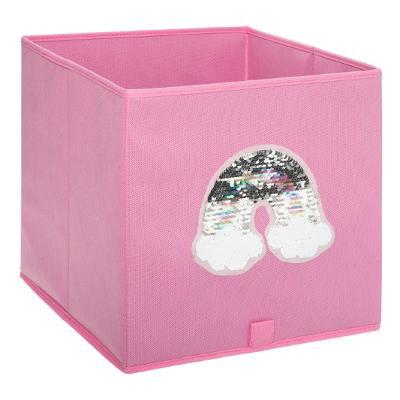 Úložný box růžový s flitrovou duhou