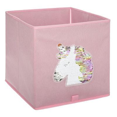 Úložný box růžový s flitrovým jednorožcem
