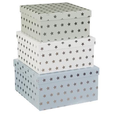 Sada čtvercových kartonových boxů s hvězdami