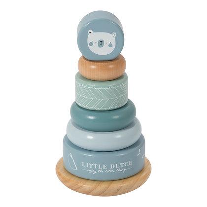 Dřevěné nasazovací kroužky modré