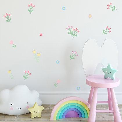 Samolepky na zeď pastelové květiny