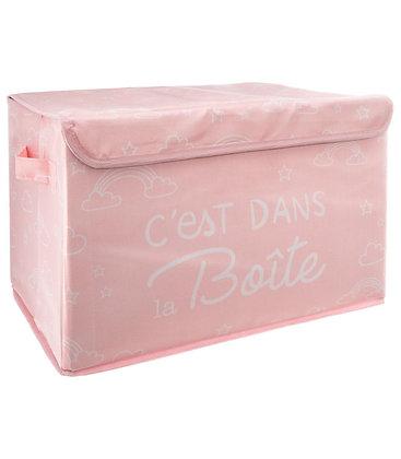 Malý látkový úložný box růžový