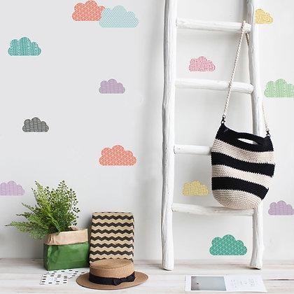 Samolepky na zeď vícebarvené mraky