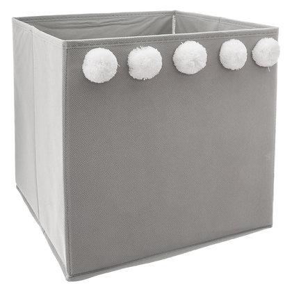Úložný box šedý s bambulemi