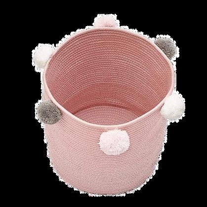 Koš na hračky růžový s bambulemi