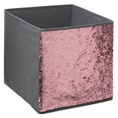 Úložný box flitr, růžový a stříbrný