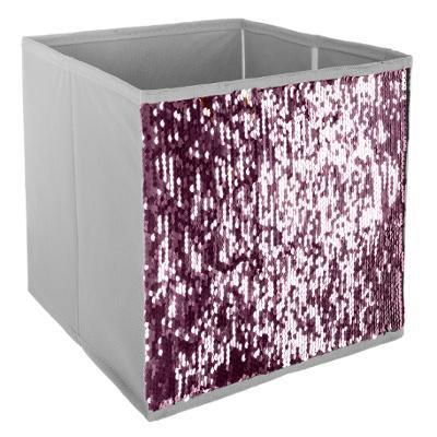Malý úložný box flitr, stříbrný a růžový