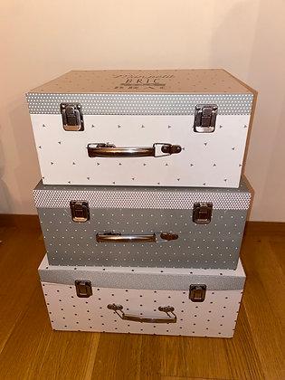 Sada velkých šedých kartonových kufříků