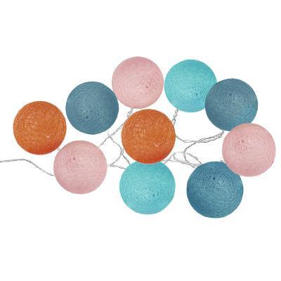 Girlanda s 10 LED  koulemi, oranžová/modrá/tyrkysová/světle růžová