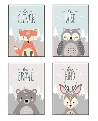 Plakáty lesních zvířat s nápisem | 4 vzory