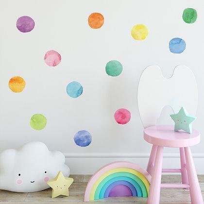 Samolepky na zeď vícebarevné velké puntíky
