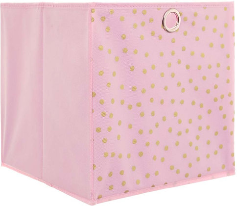 Úložný box růžový se zlatými puntíky
