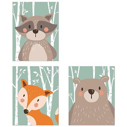 Plakáty lesních zvířat | 3 vzory