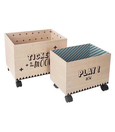 """Sada dřevěných boxů na kolečkách """"Play"""""""