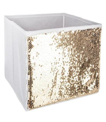 Malý úložný box flitr bílý a zlatý
