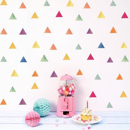 Samolepky na zeď  vícebarevné trojúhelníky