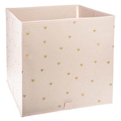 Úložný box růžový se srdíčky