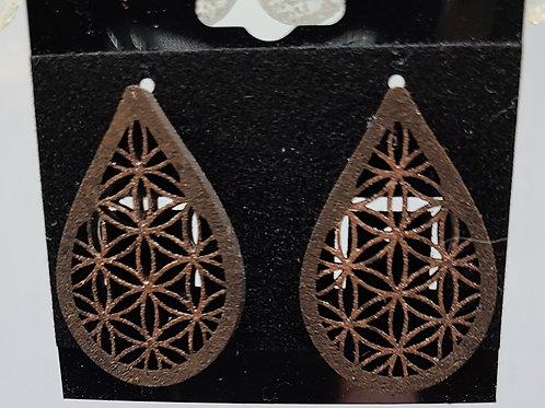 Copper Inlay flower earrings-post