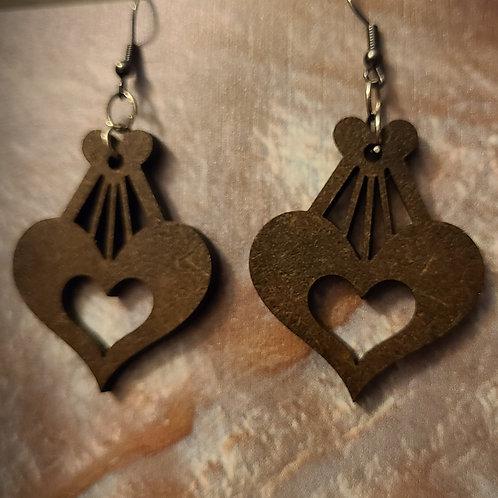 Wood Heart Dangle Earrings