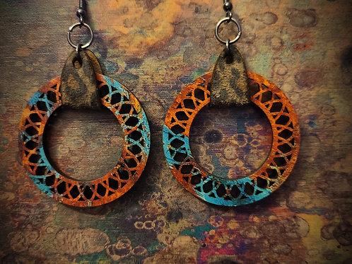 multi color pattern ply earrings