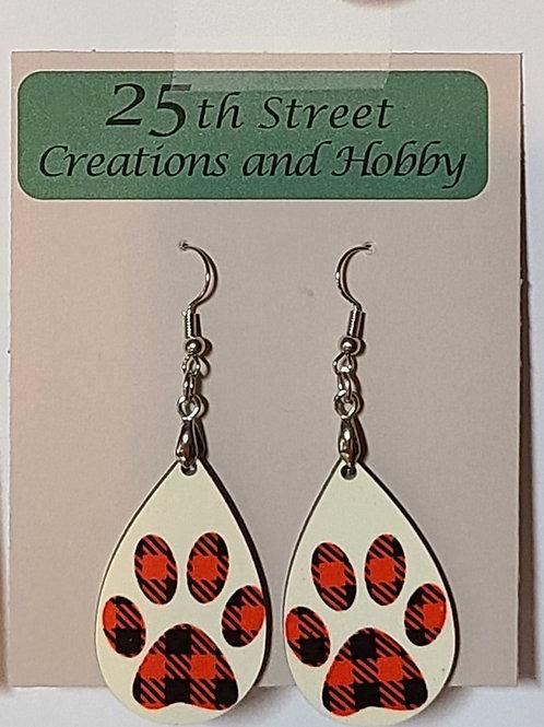 plaid dog paw dangle earrings