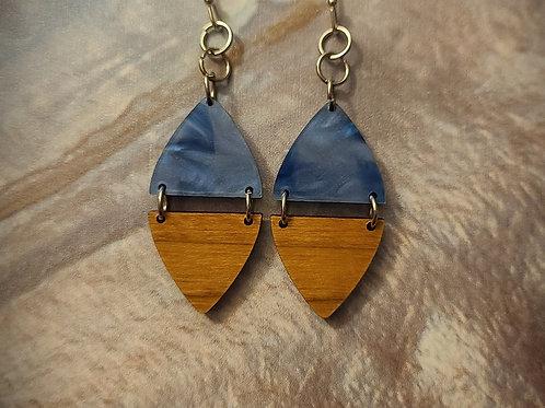 blue/wood dangle earrings