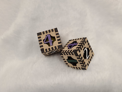 6 sided dice, laser cut