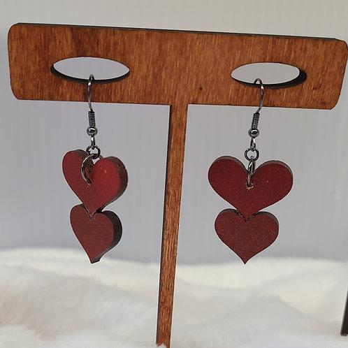 red glitter heart dangle earrings