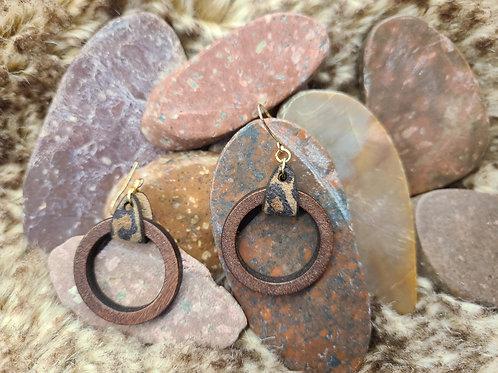 Wood circle/leather loop earrings