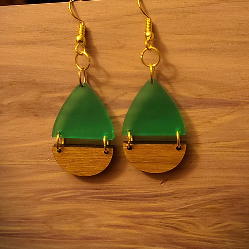 green/wood dangle earrings