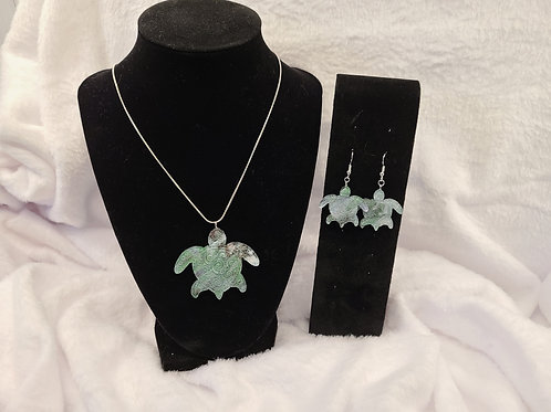 Spiral Turtle necklace and earrings