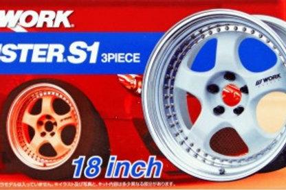 "Aoshima Work Maister S1 3 Piece 18"" Wheel and Tire Set"