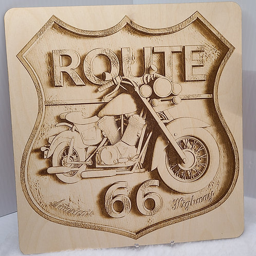 Route 66 Motorcycle wall hanging