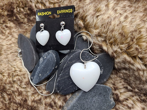 White Heart necklace and earrings