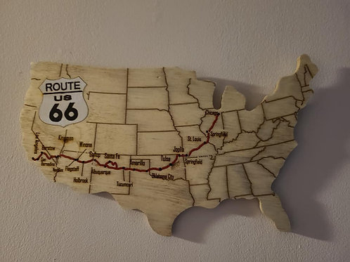 Route 66 Map Wall Art
