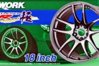 "Aoshima Work Emotion CR Kiwami 18"" Wheel and Tire Set"