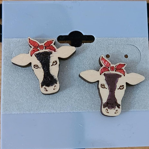 Red Bow Cow Head Earrings