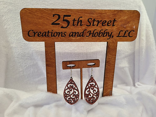 Red glitter scroll cut dangle Earrings