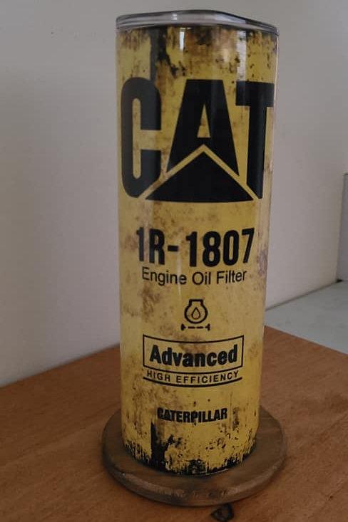 20oz CAT Oil Filter Skinny Tumbler