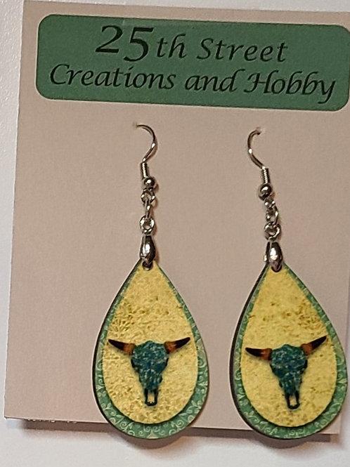 Western -longhorn earrings, yellow