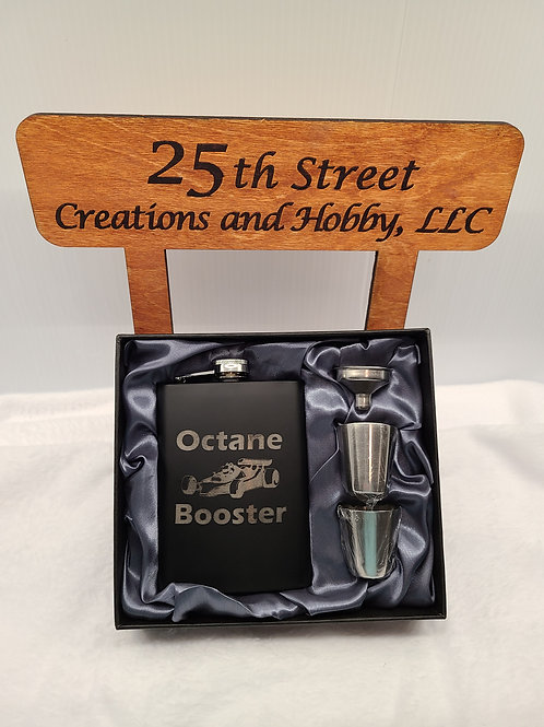 Octane Booster black flask with gift box