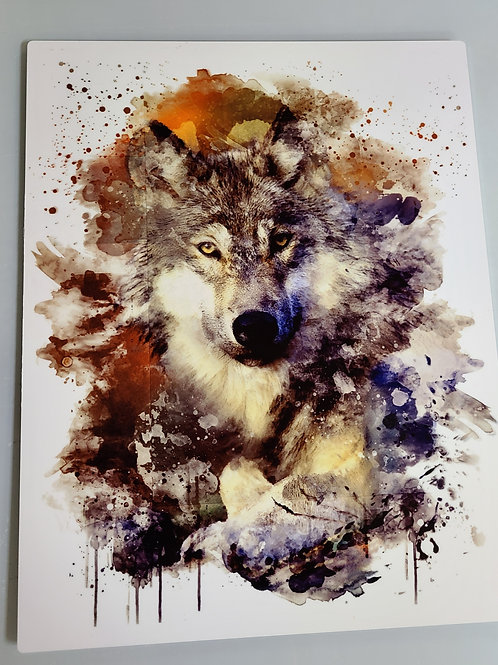 Watercolor wolf wall hanging