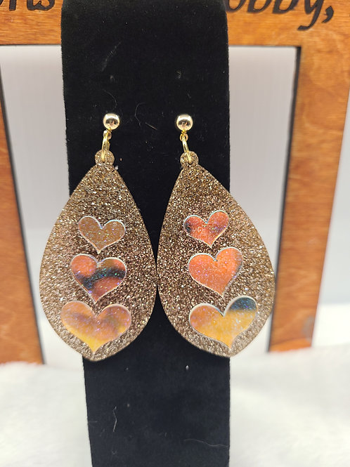 glitter hearts on pink glitter dangle earrings